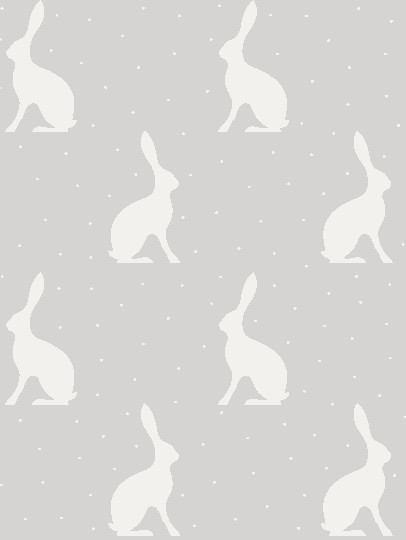 Mini Hares Wallpaper In Gustavian Grey Background Peony