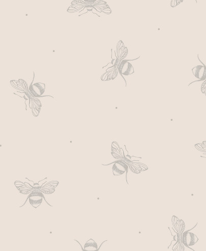 Busy Bees Wallpaper In Grey On Cream