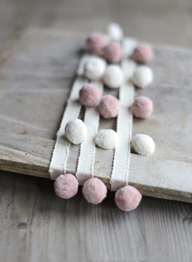 Ivory and Pink Pom Poms