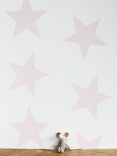 Twinkle Large Star Wallpaper In Pale Pink