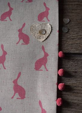 Mini Hares Cherry on stone Linen Peony and Sage