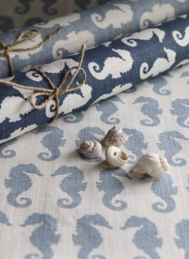 Gustavian Blue Positive Seahorses by Peony and Sage