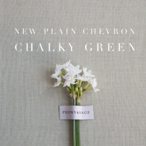 Peony & Sage Plain Chevron Linen Chalky Green