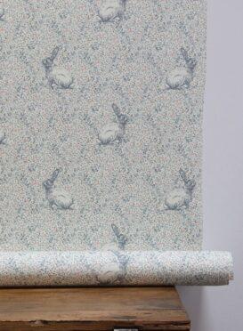 Delilah's Rabbit ~ Slate Blue and Lime Wallpaper